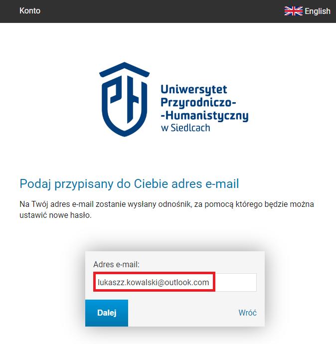 """obrazek przedstawia formularz odzyskiwania hasła, w którym wpisujemy prywatny adres email. Na formularzu widnieje również przycisk """"ustaw hasło"""""""